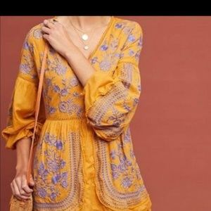 Nwt Anthropologie meadow and rue embroidered dress
